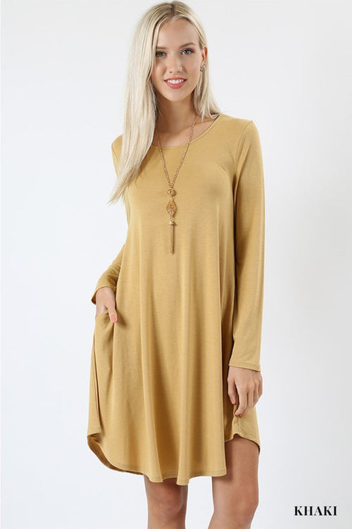 A-Line Swing Dress : Khaki