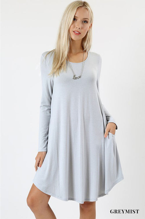 A-Line Swing Dress : Grey mist