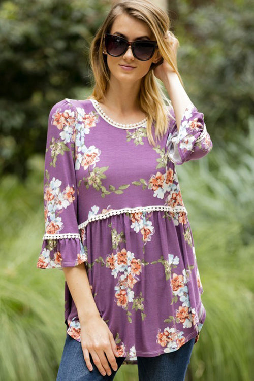 Floral Babydoll Top with Crochet - Plum