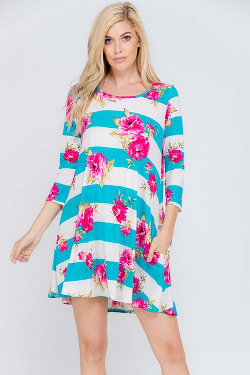 Lauren Stripe Floral Print Dress : Aqua