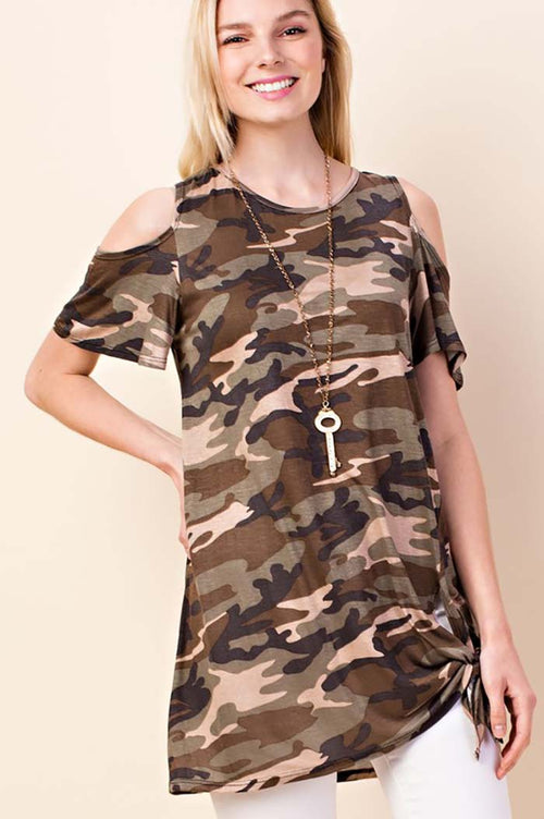 Karter Army Print Open Shoulder Top : Army