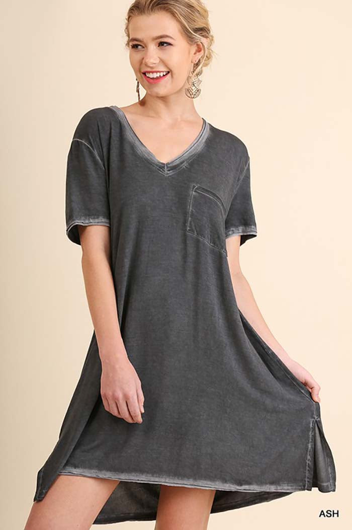 Emerson Washed Tee Dress : Ash