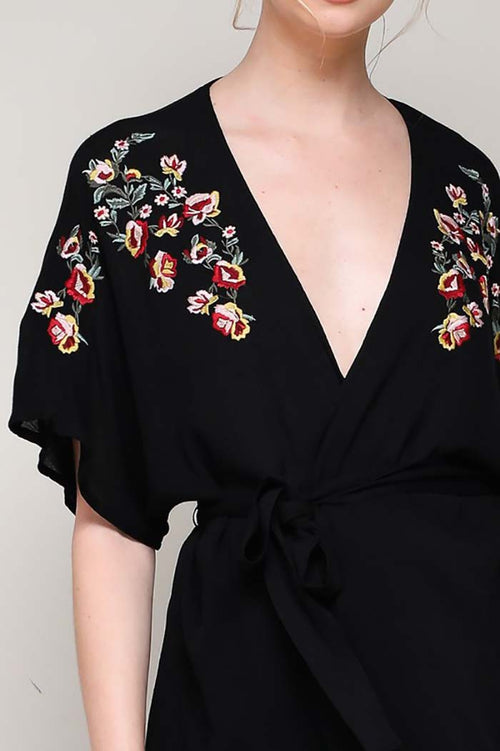 Riley Embroidered Kimono Top : Black