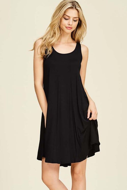 Nevaeh Sleeveless Tank Dress : Black