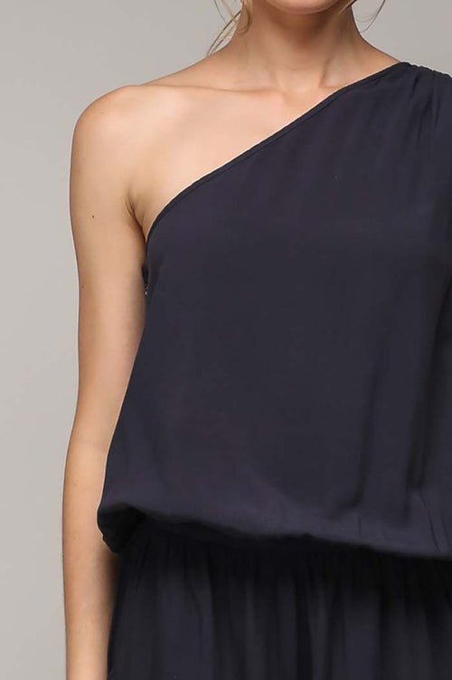 Arianna One Shoulder Jumpsuit : Black