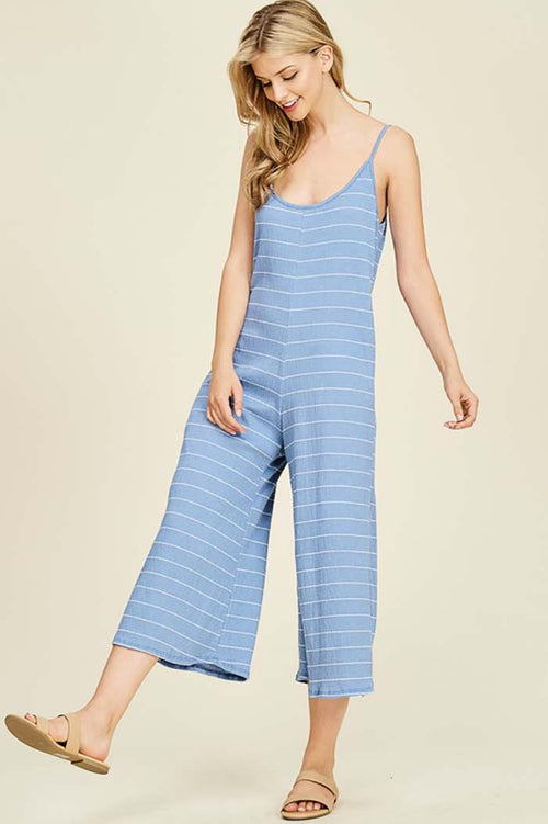 Romina Stripe With Side Pockets Jumpsuit : Blue