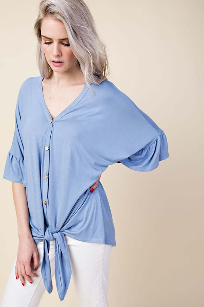 Julia Solid Button Down Tunic Top : Blue