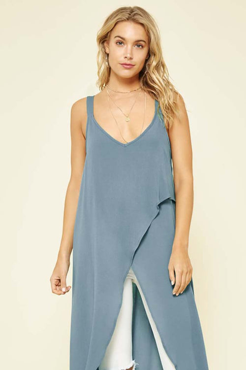 Camila Wrap High-low Top : Blue
