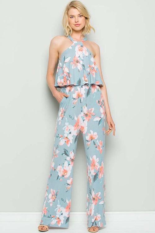 Alexa Floral Halter Back Ties Jumpsuit : Blue