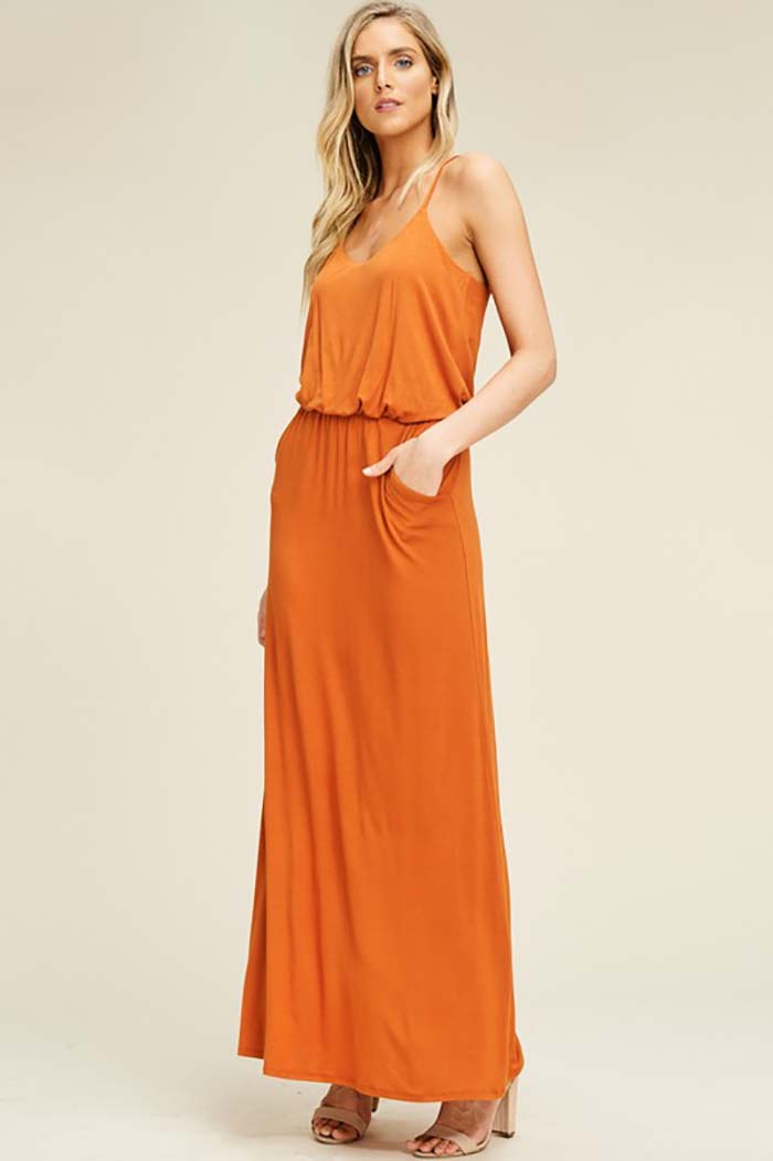 Alexa Elastic Waist Maxi Dress : Burt Orange