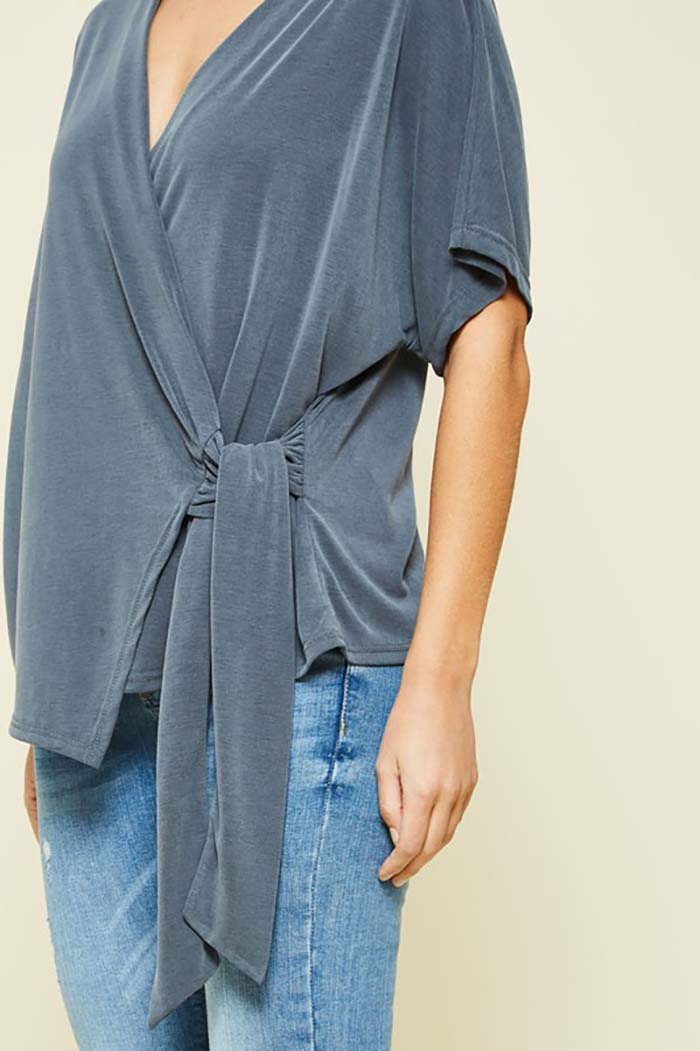 Margaret Wrapped Knit Top : Charcoal