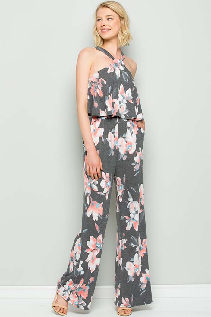 Alexa Floral Halter Back Ties Jumpsuit : Charcoal