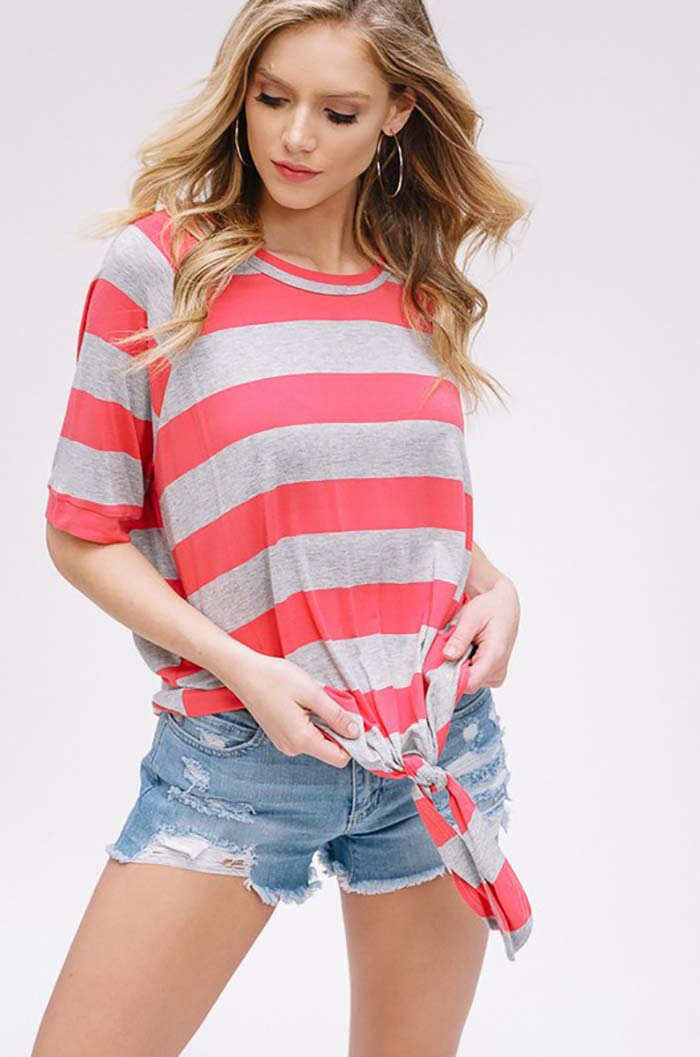 Delilah Stripe Knot Front Tie Top : Coral