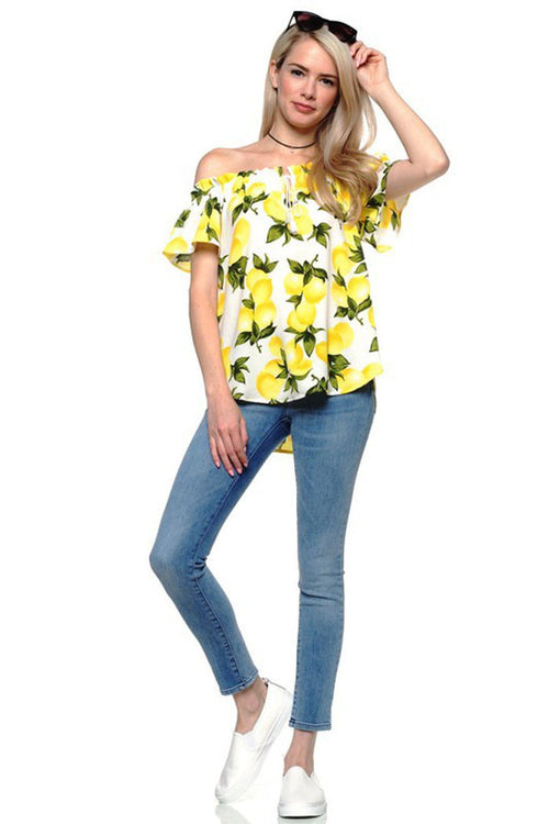 Lemon Off Shoulder Top