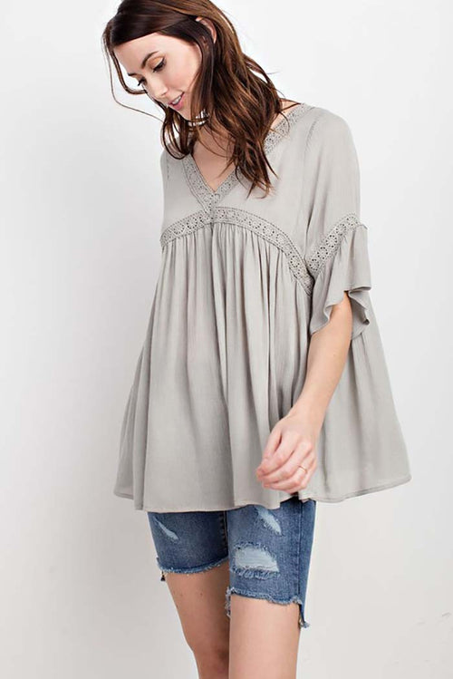 Ruby Boho Crochet Trim Lace Up Tunic Top : Faded Sage