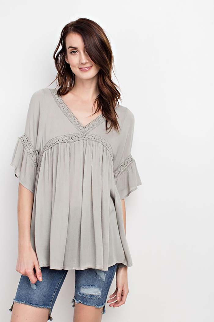 Ruby Boho Crochet Trim Lace Up Tunic Top : V. Rose