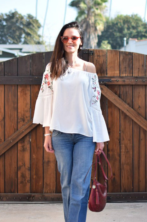 Floral and Lace Bell Sleeve Top