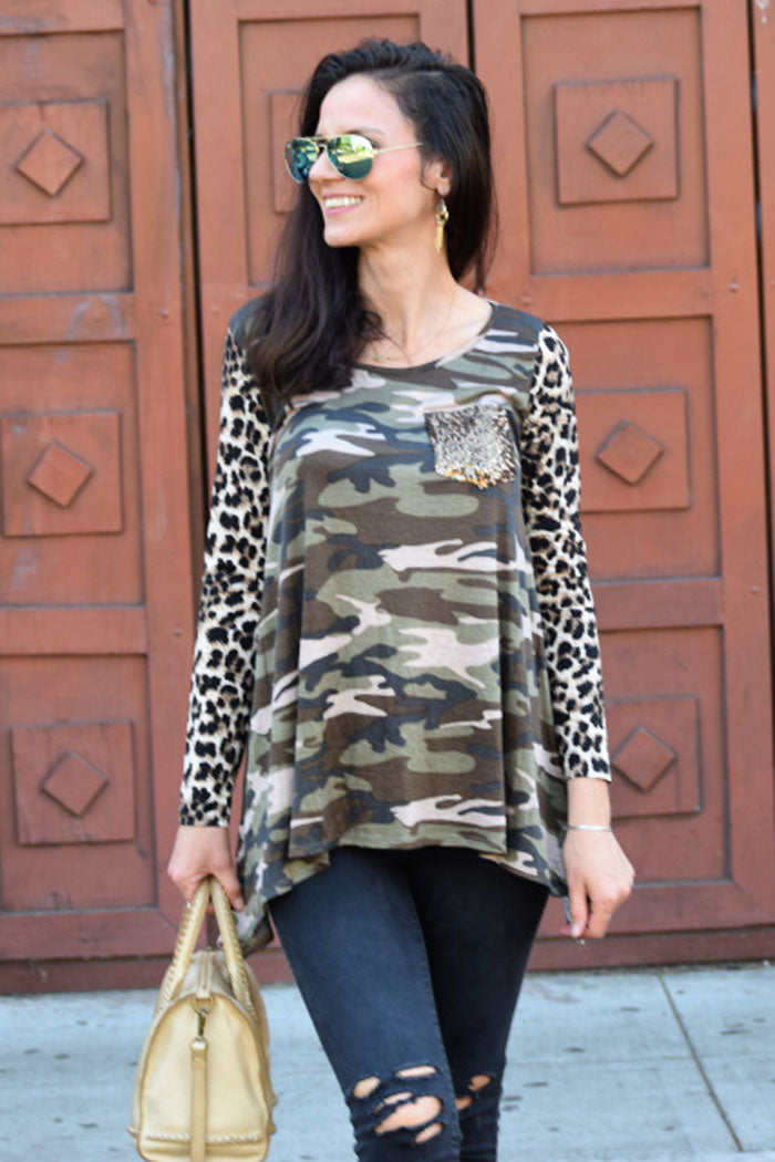 Leopard and Camo Top