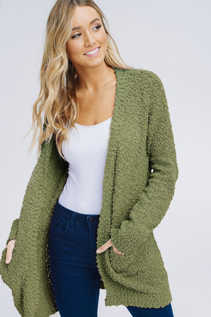 Angela Cozy Open Cardigan : Olive