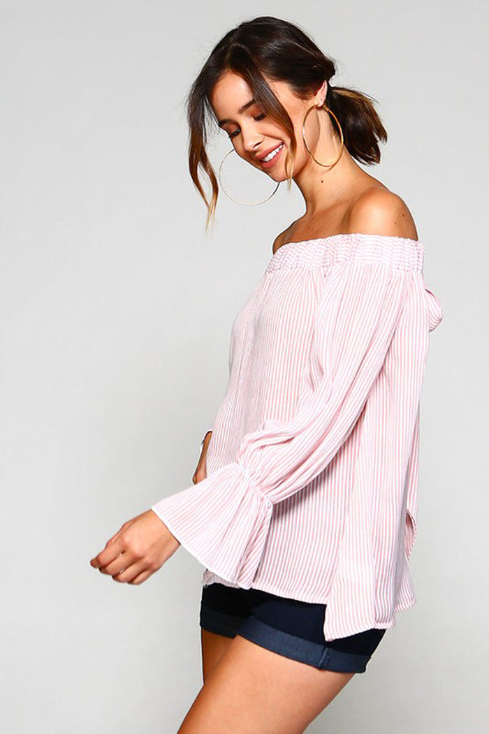 Sally Striped Off The Shoulder Top : Blush