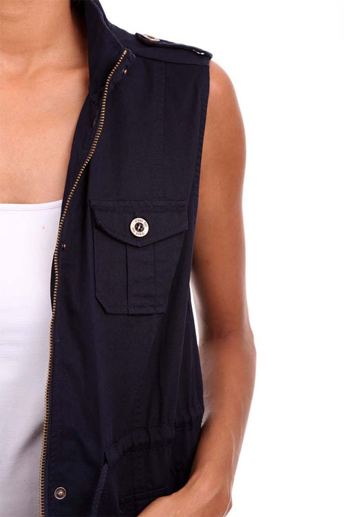 Zip Up Front Solid Vest Jacket Three Pocket