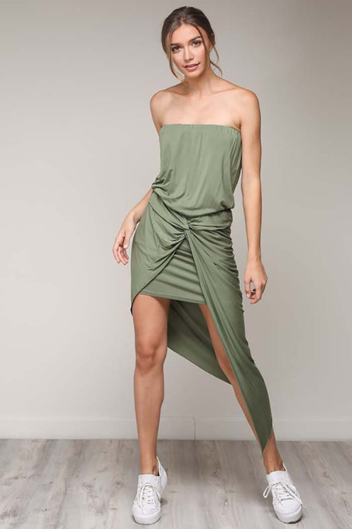 Ruby Drape Unbalance Dress : Grass