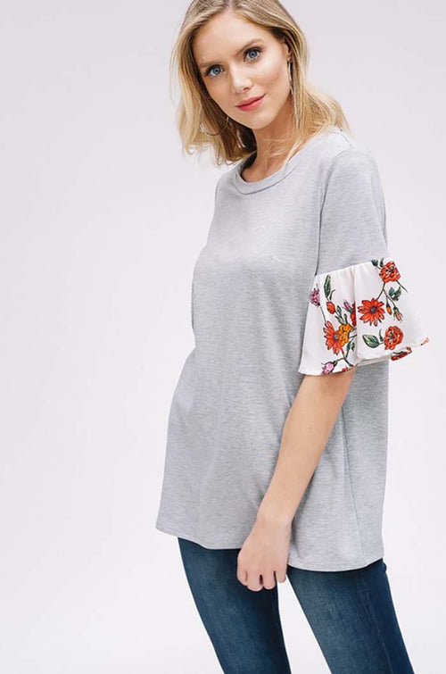 Nathalie Floral Bell Sleeve Top : Grey