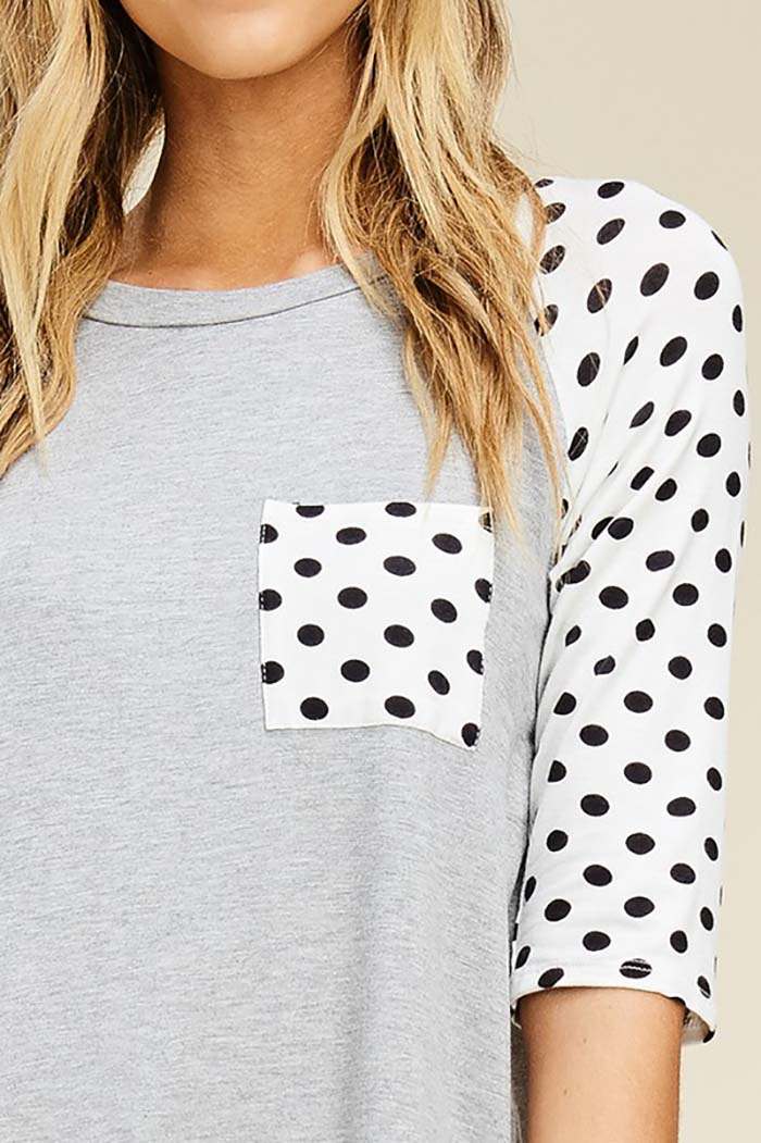 Cecilia Polka Dot Sleeve Baseball Top : Heather Grey