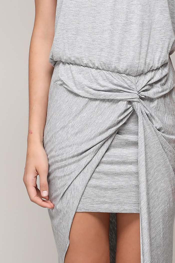 Ruby Drape Unbalance Dress : Heather Grey