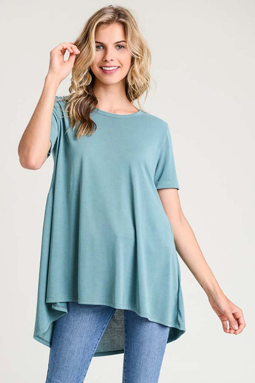 Aubree Solid Top With Pleated Back : Hunter Green