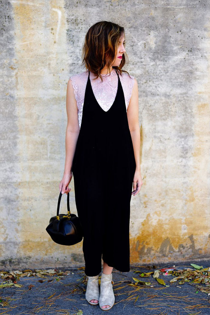 Plunging V-Neck Jumpsuits : Olive