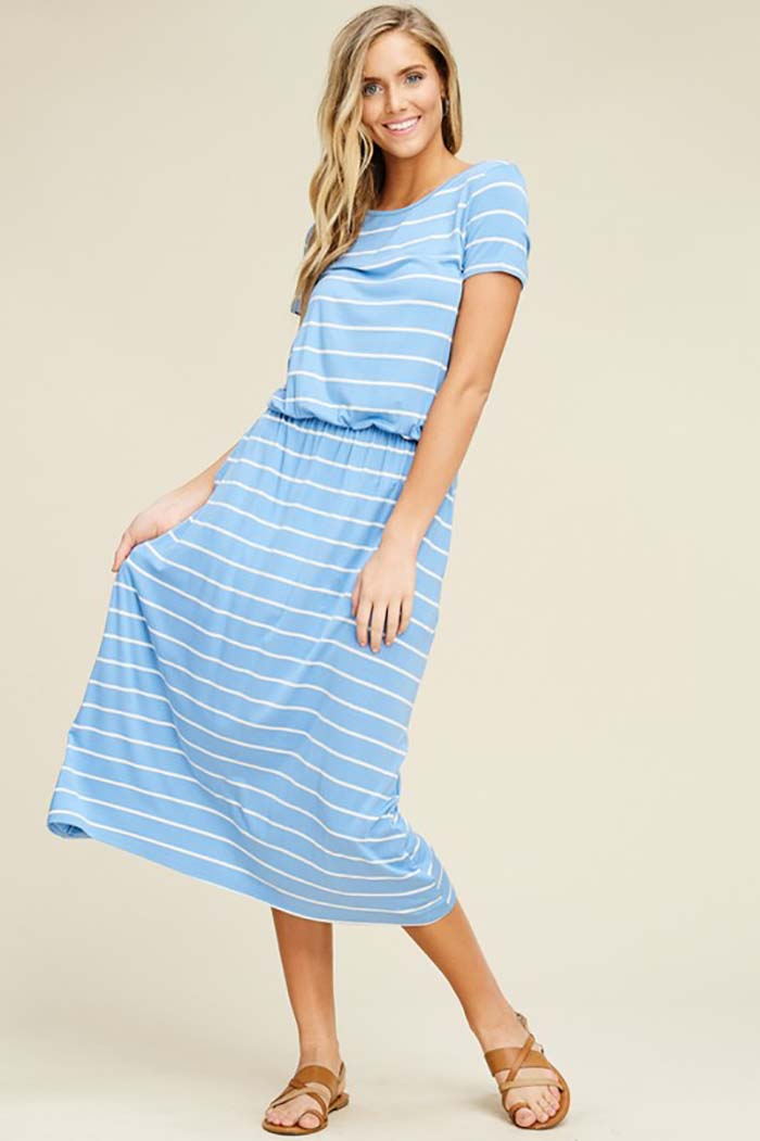 Bailey Stripe Elastic Waist Pockets Dress : Indigo/Ivory