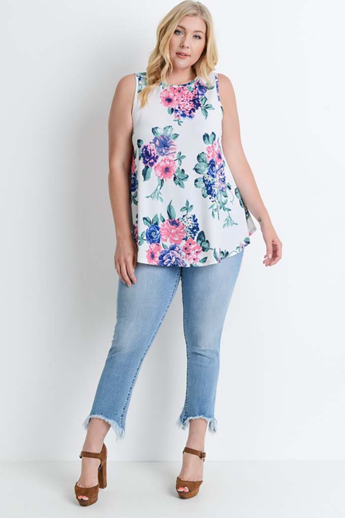 Floral With Ivory Tank Top Plus : Ivory