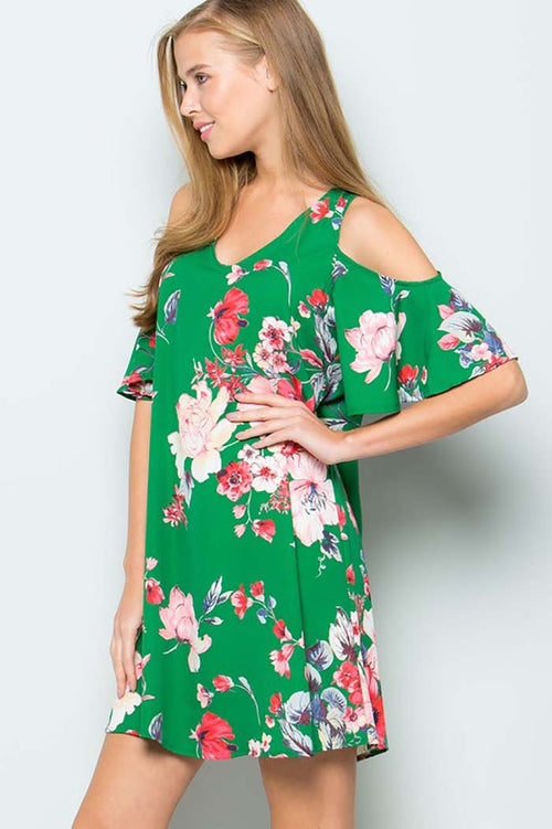 Isla Floral Cold Shoulder Dress : Kiwi Green