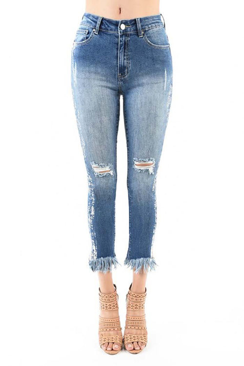 Lila Destroyed Straight Frayed Jeans : Medium Blue