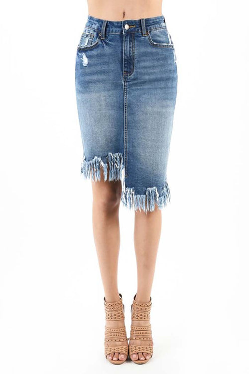 Marley Asymmetrical Midi Denim Skirt : Medium Dark
