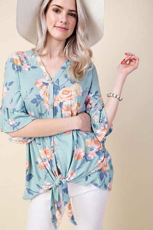 Eliana Floral Ruffle Sleeve Top : Mint