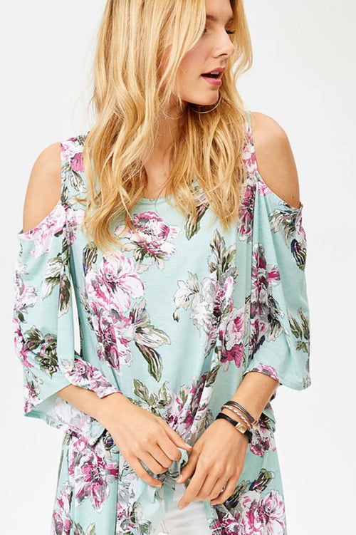 Chloe Open Shoulder Tunic Top : Mint