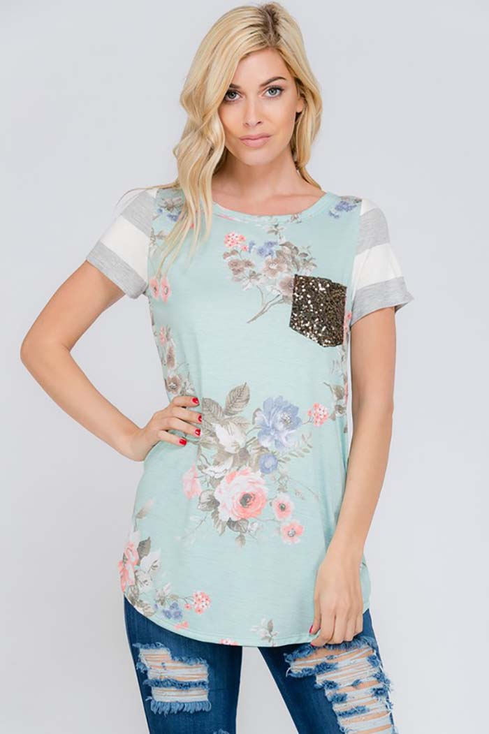 Mia Short Sleeve with Sequin pocket Top : Blush