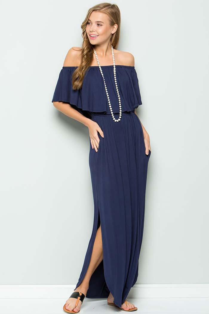 Solid Ruffle Off Shoulder Maxi Dress : Navy