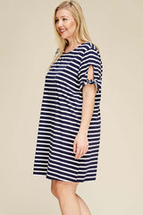 Elizabeth Stripe Dress Plus : Navy