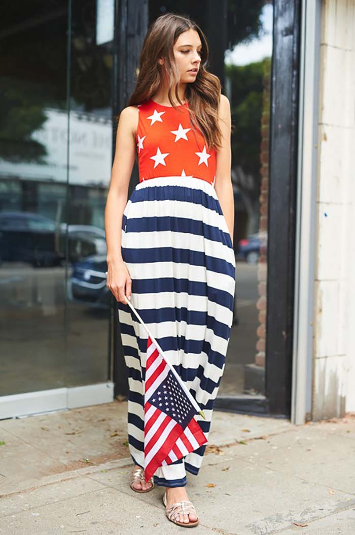 230dbfed90c GOZON Women s American Flag Stripe Skirt Star Top Maxi Dress – GOZON  Boutique