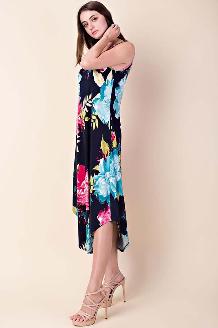 Finley Floral Long Dress With Pocket : Navy