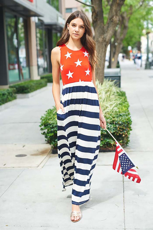 Flag Maxi Dress : Navy