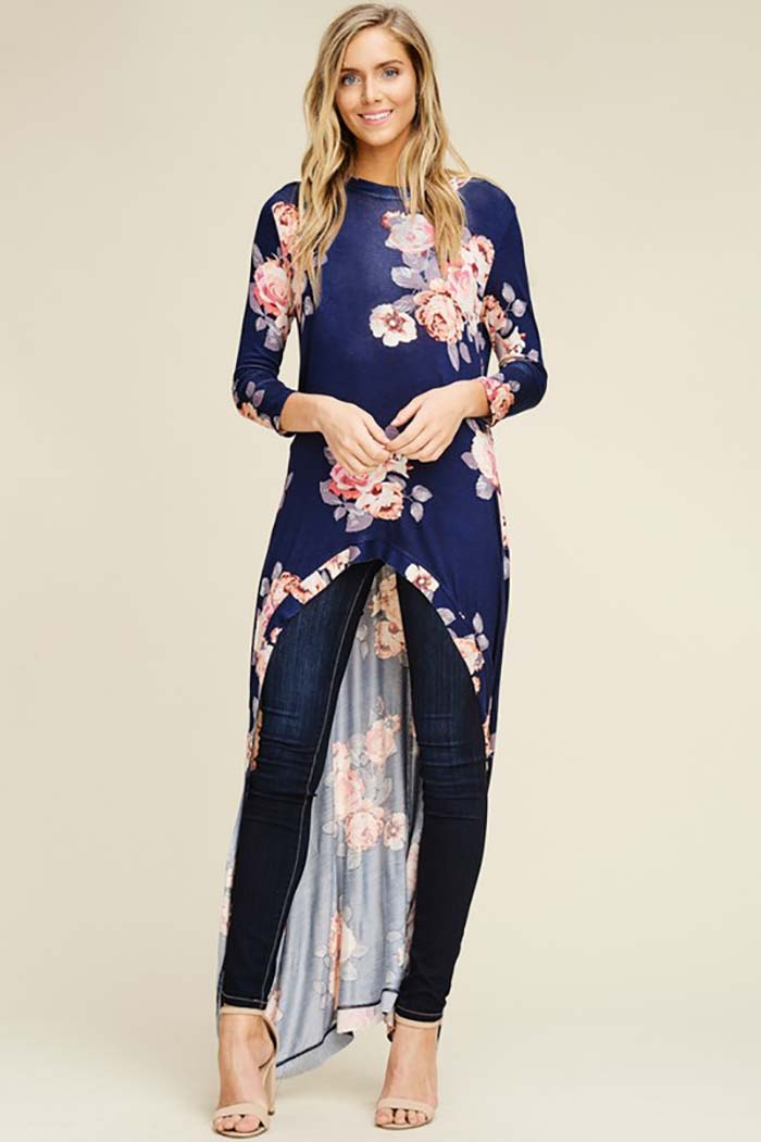 Eden Floral Hi-low Tunic Top : Indigo