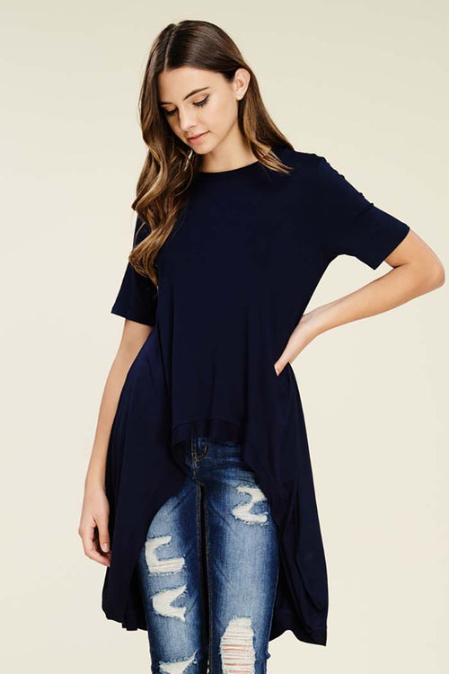 Julissa Short Sleeve Hi-low Top : Navy