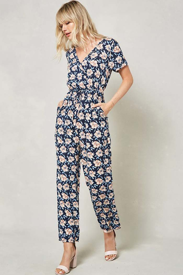 Aliyah Floral Cropped Jumpsuit : Navy