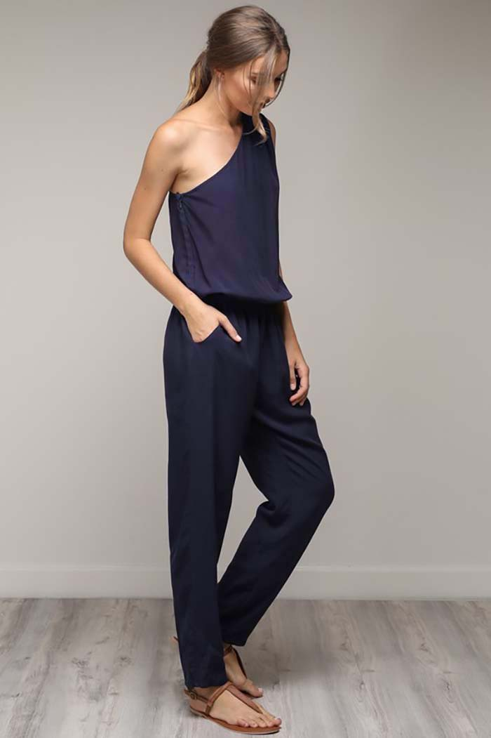 Arianna One Shoulder Jumpsuit : Navy