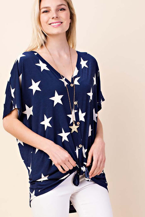 Lila Button Down Star Print Top : Navy