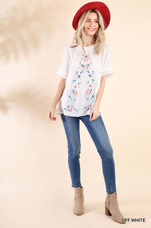Jenny Embroidered Top : Off white